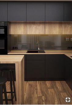 Kitchen Room Design, Home Decor Kitchen, Interior Design Living Room, Home Kitchens, Modern Kitchen Interiors, Contemporary Kitchen Design, Contemporary Cabinets, Cuisines Design, Küchen Design