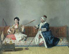 Monsieur Levett And Mademoiselle Helene Glavany In Turkish Costumes Painting  - Monsieur Levett And Mademoiselle Helene Glavany In Turkish Costumes Fine Art Print