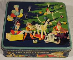 SUPER ART DECO ELKES BISCUITS XMAS TIN CHRISTMAS TREE ELVES PRESENTS TEDDY BEAR | eBay