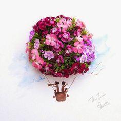 Love Limzy: l'artista che dipinge con i fiori-Gli abiti sono realizzati a strati con orchidee, rose, ortensie, garofani e foglie di crisantemo appassito. I tratti e le forme sono curate nei minimi dettagli per rappresentare corpi, volti e capelli fluenti.