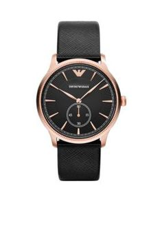 Emporio Armani  Mens Black Saffiano Leather Subsecond Three Hand Watch