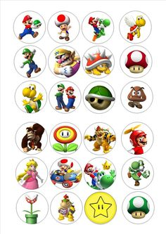 24 Edible cake toppers wafer rice paper super mario brothers mixed charaters in Crafts, Cake Decorating Super Mario Bros, Super Mario Birthday, Mario Birthday Party, Super Mario Party, Super Mario Brothers, Bolo Do Mario, Mario Bros., Mario And Luigi, Hama Beads Minecraft