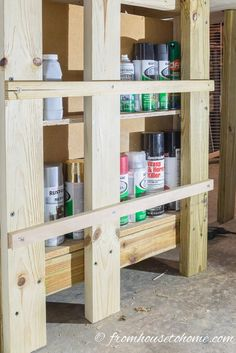 Nail a small board across the front to keep the cans from falling over | 10 Ways to Organize Tools (So You Can Actually Find Them)