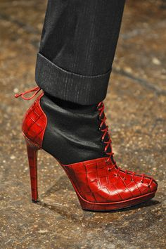 Donna Karan red black lace up boot heels