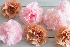 How To Make Realistic Paper Garden Flowers - Shabbyfufu Happy Flowers, Fake Flowers, Diy Flowers, Coffee Filter Flowers, Dried Flower Arrangements, Paper Peonies, Tea Party Bridal Shower, Floral Foam, Paper Flower Tutorial