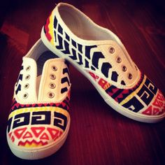 Aztec Shoes. I sorta made some shoes like this...not quite Aztec though...