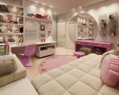 stunning-white-and-pink-bedroom-featured-round-mirror-design-for-teenage-girls-ideas.jpg 1 200×960 pikseli