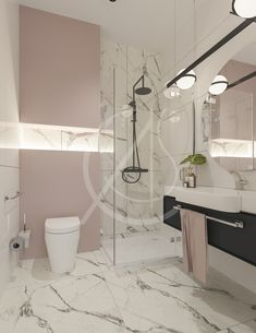 Pastel pink wall paint combined with marble tiles gives this bathroom interior a softer feel, accented with black floating vanity and accessories, achieving a fresh and minimal bathroom design, by Comelite Architecture, Structure and Interior Design. Marble Tile Bathroom, Marble Tiles, Shiplap Bathroom, Subway Tiles, White Tiles, Minimal Bathroom, Modern Bathroom, Neutral Bathroom, Bathroom Black