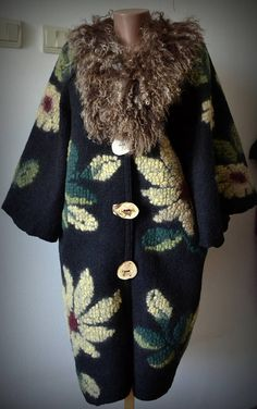Shop for on Etsy, the place to express your creativity through the buying and selling of handmade and vintage goods. Nuno Felting, Wool Felt, Fur Coat, Trending Outfits, Unique, Jackets, Etsy, Clothes, Vintage