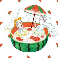 We hope artworks on Grafolio will function beyond that of a simple portfolio and garner respect as a culture which can be enjoyed by everyone. Japanese Illustration, Couple Illustration, Graphic Illustration, Watercolor Food, My Art Studio, Color Pencil Art, Happy Art, Food Illustrations, Beautiful Artwork