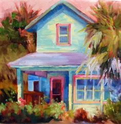 """Beach House Coastal Cottage Oil Painting """"Fort Screven Cottage"""" by Georgia Artist Deanna Jaugstetter"""