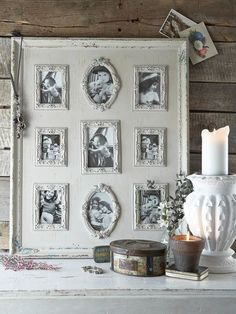 Pictures frames then put on a big canvas picture frame