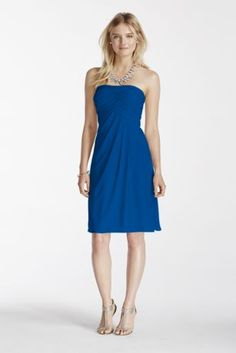 Your bridesmaids will look absolutely stunning in this mesh sheath dress!  Strapless sheath mesh dress features crossover pleating on the bodice.  Slim draped mesh skirt provides a comfortable and figure flattering silhouette.  Fully lined. Back zip. Imported polyester. Dry clean only.  Available in Extra Length sizes as Style 2XLF17048.  Sizes and colors are available in limited stores and with limited availability. To protect your dress, try our Non Woven Garment Bag.