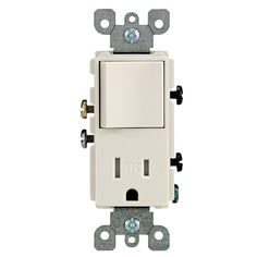 Leviton R66-T5625-0TS Light Almond Single Pole Switch & Receptacle Combination