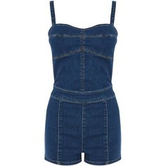 Warehouse Bikini Playsuit ($18) ❤ liked on Polyvore featuring jumpsuits, rompers, denim, dresses, playsuit romper, blue rompers and blue romper