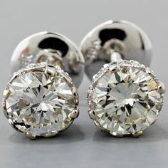 Diamond Stud Earrings Antique Edwardian Style Gold