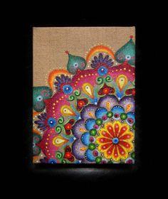 Buntstifte auf braunem Papier //ORIGINAL ARTWORKS Summer Rainbow Burlap Mandala by tuffjulz