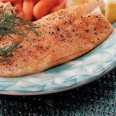 Fast Baked Fish:  4 servings; 270 calories, 17 g fat per serving