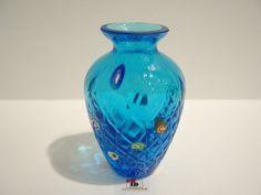 Mundblæst Glas Vase - Klar/Blå Med Millefiori - 10cm - Ibsen Design