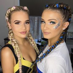 Two gorg clients rocking their festival braids after being styled at our Valley . Two gorg clients Music Festival Hair, Festival Braid, Twist Cornrows, Twist Braids, Side Braid Hairstyles, Elegant Hairstyles, Rave Hair, Mario E Luigi, Curly Hair Styles