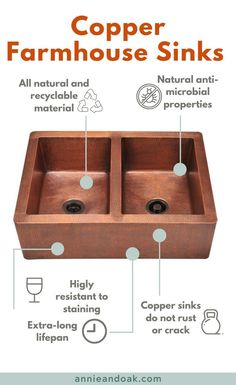 What are the benefits of a pure copper sink? For one thing, copper is a naturally antimicrobial material, which kills almost 100% of harmful bacteria, enhancing the overall sanitation of your kitchen with minimal effort. Copper is also naturally stain-resistant and rust-resistant in its purest state, for a sink that's truly built to last.  Another benefit of a thicker gauge copper sink is less noise when water is spraying in the sink. #copperfarmhousesink #annieandoak Copper Farmhouse Sinks, Fireclay Farmhouse Sink, Farmhouse Sink Kitchen, Copper Sinks, Farmhouse Decor, Best Kitchen Sinks, Smart Kitchen, Country Kitchen, Easy Home Decor