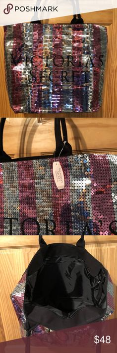 NWT Victoria's Secret Pink Sequin silver tote bag NWT Victoria's Secret bling  sequin tote with pink and silver sequin. Very spacious and super cute. All my items come from a smoke free home. Thanks for looking!! PINK Victoria's Secret Bags Totes