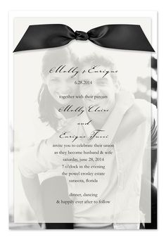 Custom wedding invites. The sheer vellum top layer features your personalization and the bottom layer features your photo. Your photo can be printed in black and white or color.