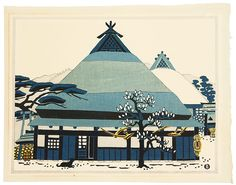 Minagawa Taizo, Dog and Farm House in Winter, 1967. I found a book of this artist's work in a used art bookstore in Kyoto. The prints are wonderful -- you can see both Japanese woodblock and midcentury design influence.