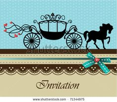 stock vector : Invitation card with carriage & horse
