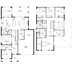 View our Hampton 45 style home design. A luxury double storey house with 5 bedrooms, 3 baths & more. New House Plans, Dream House Plans, Modern House Plans, House Floor Plans, Home Design Floor Plans, Dream Home Design, Hamptons House, The Hamptons, Double Storey House Plans