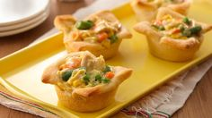 Your family will love these miniature chicken pot pies, made easy with refrigerated crescent dough. Serve them with a fresh green salad.