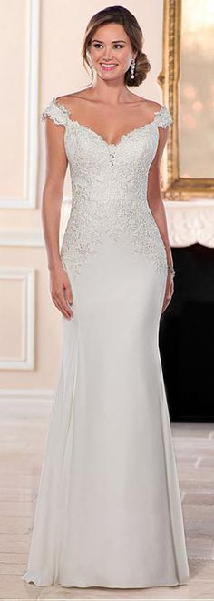 Elegant Acetate Satin Off-the-shoulder Neckline Sheath/Column Wedding Dress With Lace Appliques