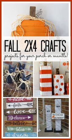 Fall Craft Projects - Sugar Bee Crafts Fall crafts that are perfect for your porch or mantle! Kids Crafts, 2x4 Crafts, Fall Wood Crafts, Wood Block Crafts, Scrap Wood Projects, Fall Projects, Wooden Crafts, Crafts To Make, Craft Projects