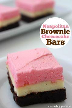 Neapolitan Brownie Cheesecake Bars- Super fun dessert for summer. Three layers of yumminess.