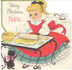 Vintage Christmas Card Girl Bakes Cookies Black-Cat Die-Cut Baking Child Nana