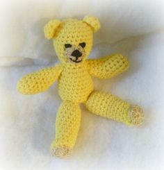 Amigurumi yellow teddy bear by RufflesbytheMoon on Etsy, $18.00