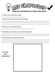 So, I'm teaching creative writing at Beartooth Elementary, and this is the worksheet for creating a character. 'My Own Character' worksheet Character Sheet Writing, Teaching Character Traits, Book Writing Tips, Character Education, Kids Writing, Character Development, Character Counts, Writing Prompts, Kindergarten Worksheets