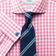 010fa950cb51 Pink gingham non-iron spread collar classic fit shirt