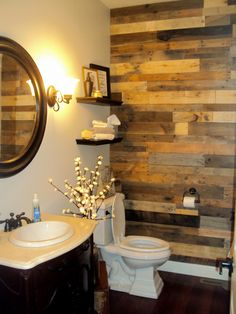 wood bathroom accent wall design 1