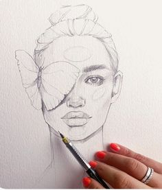 Pencil Drawing Line Art of a woman with a butterfly on her eye Girl Drawing Sketches, Art Drawings Sketches Simple, Pencil Art Drawings, Hipster Drawings, Face Sketch, Girl Sketch, Couple Drawings, Manga Drawing, Drawing Tips