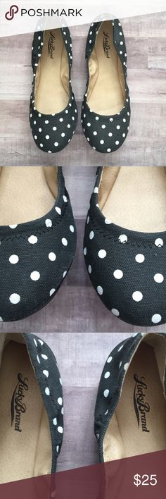 Lucky Brand Polka Dot Emmie Flats Lucky Brand Emmie Flat - Black with White Polka Dots  - Good Used Condition  - Canvas Type Material   Great for Minnie Mouse / Disney Fans who love bounding. Lucky Brand Shoes Flats & Loafers