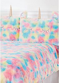 Unicorn Rainbow Faux Fur Comforter Set - Queen/Full Sizes - 7186554