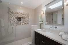 property brothers designs - Google Search - Cabinets R Us cabinetry was featured on the Property Brothers TV show. Our Espresso Shaker, with a gorgeous Countertop & Shower, along with tiles.
