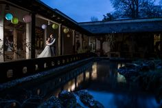 Matara Centre outdoor zen garden water reflection night shot wedding photography