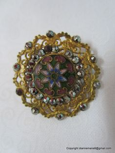 Gorgeous Brass Filigree and Enamel and Cut Steel Antique Button