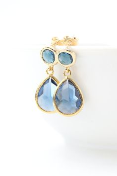 Navy Blue / Gold Teardrop Post Earrings Two Piece by ForTheMaids