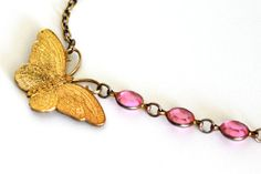 Butterfly Charm Necklace Gold and Pink Mothers by DarlingBracelets