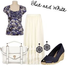 """Blue and White Summer"" by thecountryhandmaiden on Polyvore"
