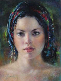 """Daily Paintworks - """"Blue Turban"""" by Denise Henley"""