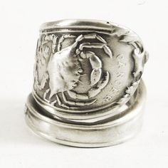 Cancer Spoon Ring with Crab in Zodiac Pattern Sterling by Spoonier